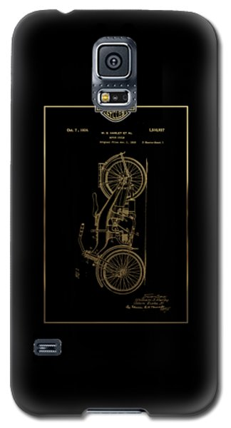 Galaxy S5 Case featuring the digital art Harley-davidson Vintage 1924 Patent In Gold With 3d Badge On Black by Serge Averbukh