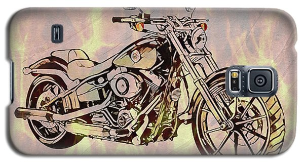 Galaxy S5 Case featuring the mixed media Harley Motorcycle On Flames by Dan Sproul