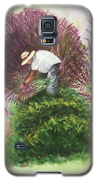 Galaxy S5 Case featuring the painting Harvesting Lavender by Lucia Grilletto