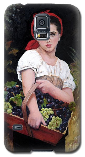 Galaxy S5 Case featuring the painting Harvesting The Grapes by Sandra Nardone