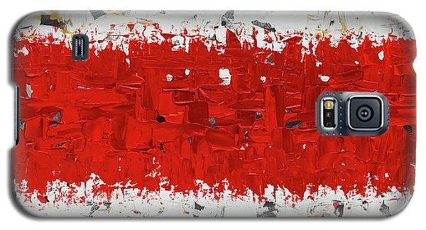 Galaxy S5 Case featuring the painting Hashtag Red - Abstract Art by Carmen Guedez