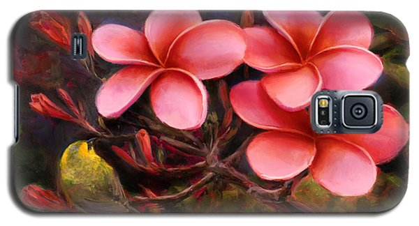 Hawaiian Pink Plumeria And Amakihi Bird Galaxy S5 Case