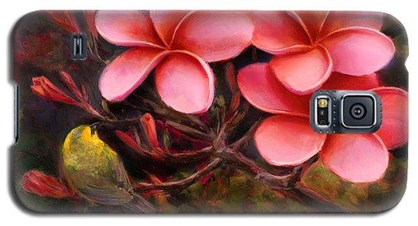 Hawaiian Pink Plumeria And Amakihi Bird Galaxy S5 Case