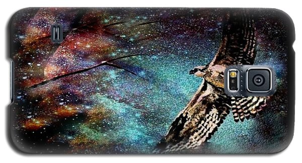 Galaxy S5 Case featuring the mixed media Hawk At Night by YoMamaBird Rhonda