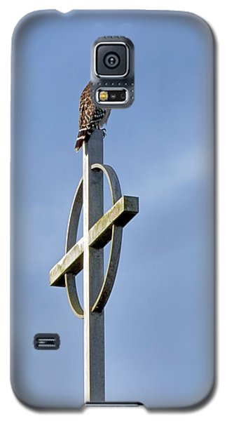 Galaxy S5 Case featuring the photograph Hawk On Steeple by Richard Rizzo