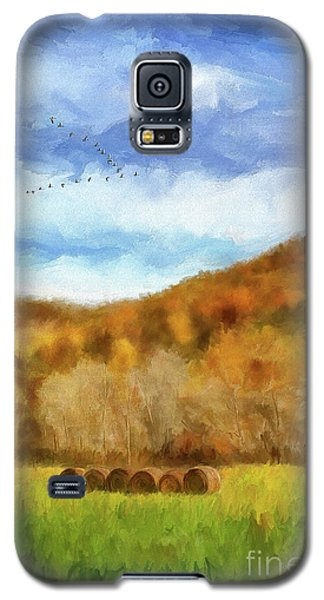 Galaxy S5 Case featuring the photograph Hay Bales by Lois Bryan