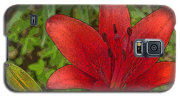 Galaxy S5 Case featuring the digital art Hazelle's Red Lily by Jana Russon