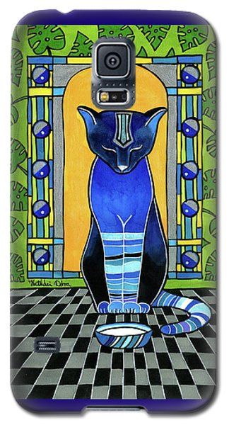 Galaxy S5 Case featuring the painting He Is Back - Blue Cat Art by Dora Hathazi Mendes