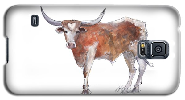 Cow Galaxy S5 Case - Heart Of Texas Longhorn by Kathleen McElwaine