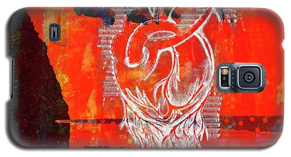 Heart On Texture Wall Galaxy S5 Case