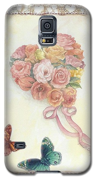 Heart Shape Bouquet With Butterfly Galaxy S5 Case
