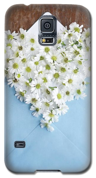 Heart Shaped Daisies In Blue Envelope Galaxy S5 Case