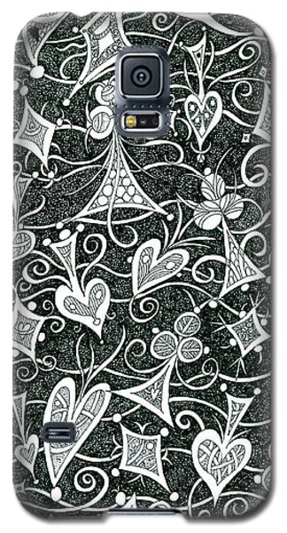 Hearts, Spades, Diamonds And Clubs In Black Galaxy S5 Case