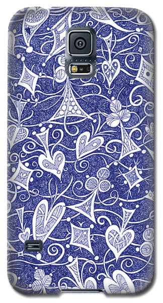 Hearts, Spades, Diamonds And Clubs In Blue Galaxy S5 Case