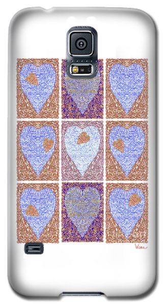 Hearts Within Hearts In Copper And Blue Galaxy S5 Case by Lise Winne