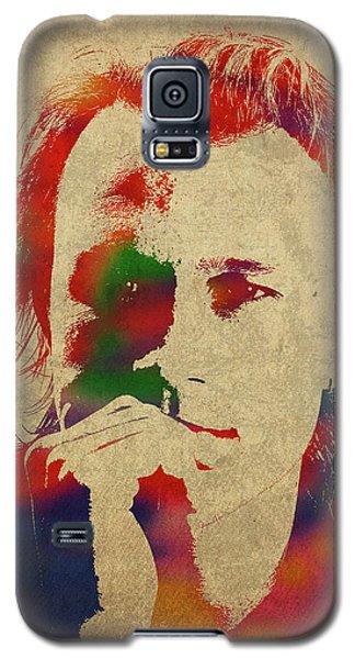 Heath Ledger Galaxy S5 Case - Heath Ledger Watercolor Portrait by Design Turnpike