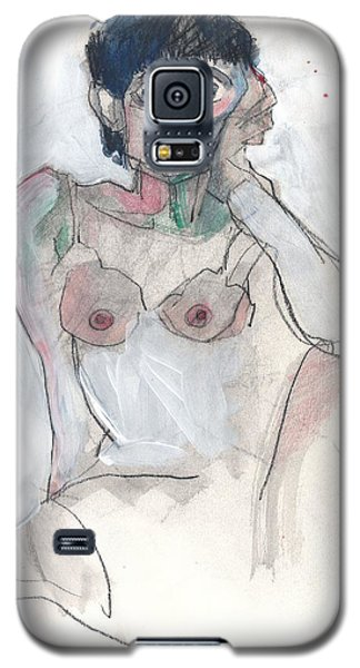 Galaxy S5 Case featuring the painting Her - Self Portrait by Carolyn Weltman