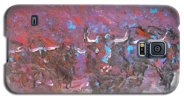 Galaxy S5 Case featuring the painting Herd Of Bulls by Koro Arandia
