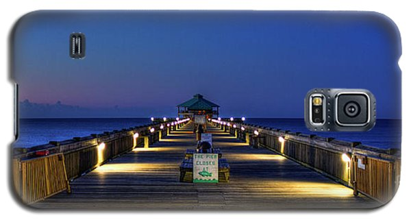 Galaxy S5 Case featuring the photograph Here It Comes Now Folly Beach Pier Sunrise Art by Reid Callaway