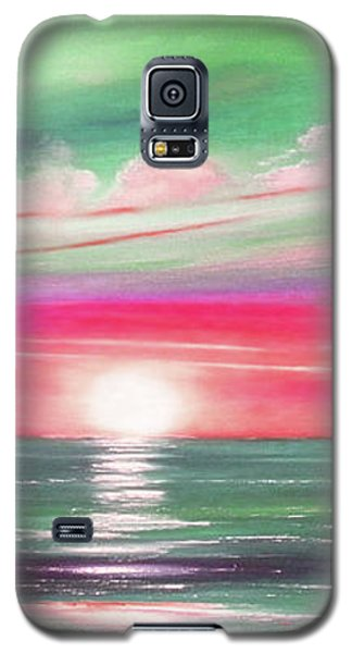 Here It Goes In Teal And Magenta Panoramic Sunset Galaxy S5 Case
