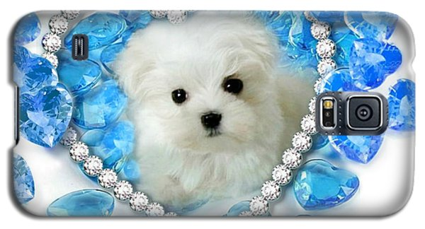 Hermes The Maltese And Blue Hearts Galaxy S5 Case