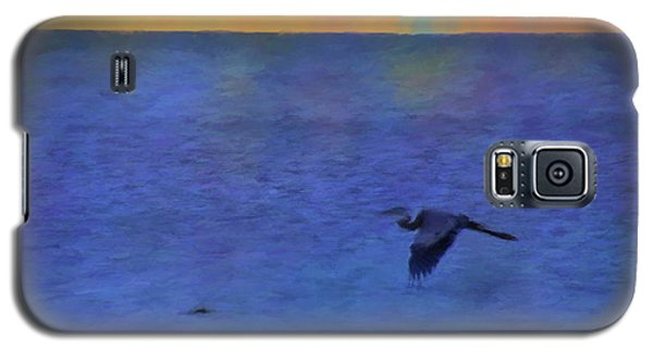Galaxy S5 Case featuring the photograph Heron Across The Sea by Jan Amiss Photography