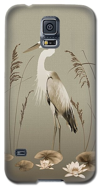 Heron And Lotus Flowers Galaxy S5 Case