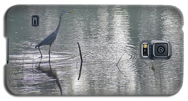 Galaxy S5 Case featuring the photograph Heron In Pastel Waters by Skip Willits