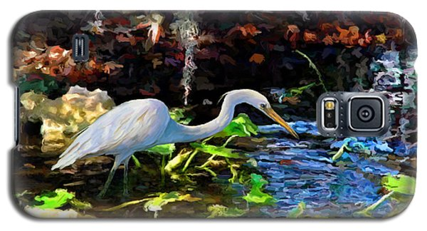 Galaxy S5 Case featuring the painting Heron In Quiet Pool by David  Van Hulst