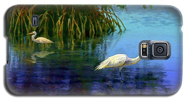 Galaxy S5 Case featuring the painting Herons In Mangroves by David  Van Hulst