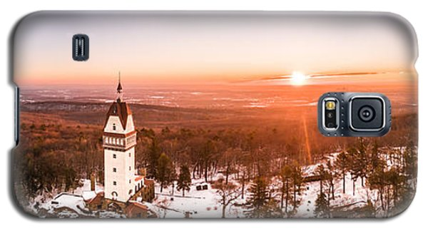 Galaxy S5 Case featuring the photograph Heublein Tower In Simsbury Connecticut, Winter Sunrise Panorama by Petr Hejl