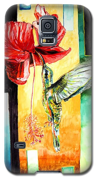Galaxy S5 Case featuring the painting Hibiscus Hummingbird Visited by Daniel Janda