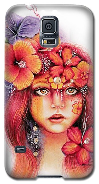 Galaxy S5 Case featuring the drawing Hibiscus by Sheena Pike