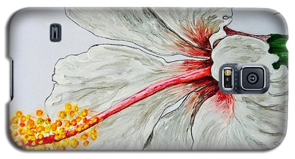 Galaxy S5 Case featuring the painting Hibiscus White And Red by Sheron Petrie
