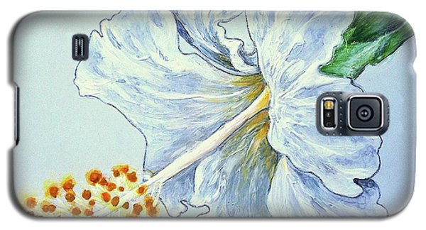 Galaxy S5 Case featuring the painting Hibiscus White And Yellow by Sheron Petrie