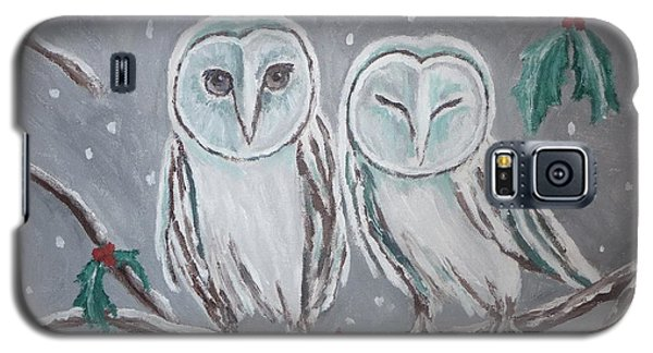 Galaxy S5 Case featuring the painting Hiboux En Hiver by Victoria Lakes
