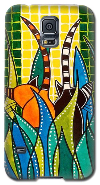 Galaxy S5 Case featuring the painting Hide And Seek - Cat Art By Dora Hathazi Mendes by Dora Hathazi Mendes
