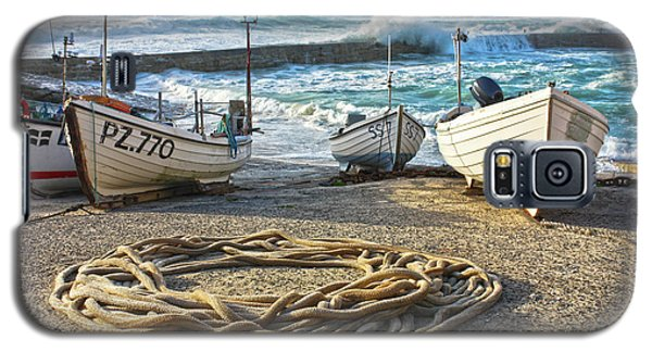 Galaxy S5 Case featuring the photograph High Tide In Sennen Cove Cornwall by Terri Waters