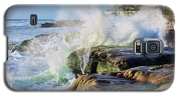 Galaxy S5 Case featuring the photograph High Tide On The Rocks by Eddie Yerkish