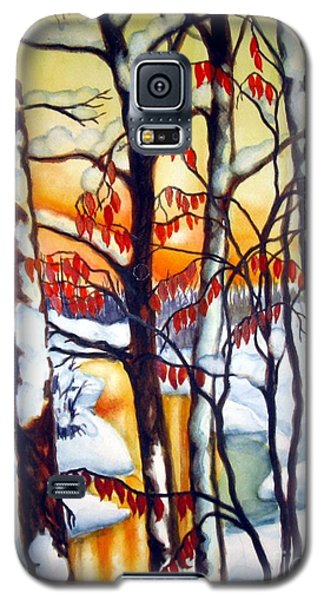 Galaxy S5 Case featuring the painting Highland Creek Sunset 1 by Inese Poga