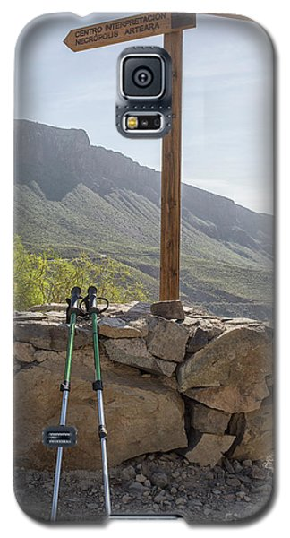 Hiking Poles Resting Near Sign Galaxy S5 Case by Patricia Hofmeester