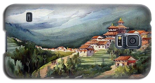 Galaxy S5 Case featuring the painting Himalayan Village  by Samiran Sarkar