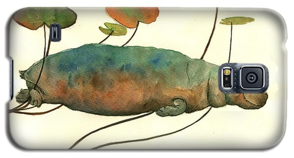 Hippo Swimming With Water Lilies Galaxy S5 Case by Juan  Bosco
