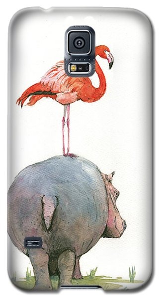 Hippo With Flamingo Galaxy S5 Case