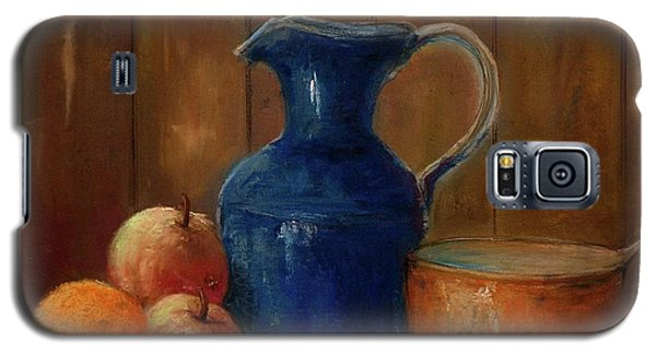 Galaxy S5 Case featuring the painting Historical Jamestown Virginia Blue Colbalt Pitcher  by Bernadette Krupa