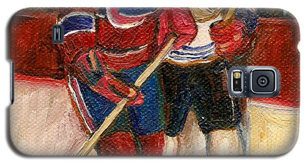 Galaxy S5 Case featuring the painting Hockey Stars At The Forum by Carole Spandau