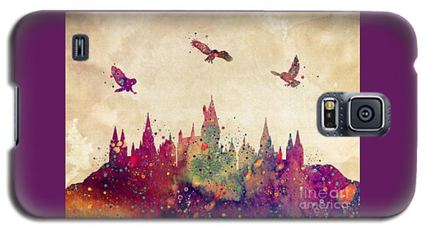 Wizard Galaxy S5 Case - Hogwarts Castle Watercolor Art Print by Svetla Tancheva
