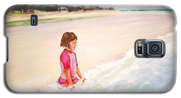 Galaxy S5 Case featuring the painting Holding The Ocean by Patricia Piffath