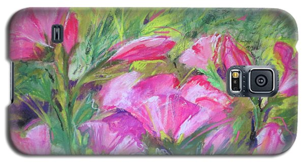 Galaxy S5 Case featuring the painting Hollyhock Breeze by Susan Herbst