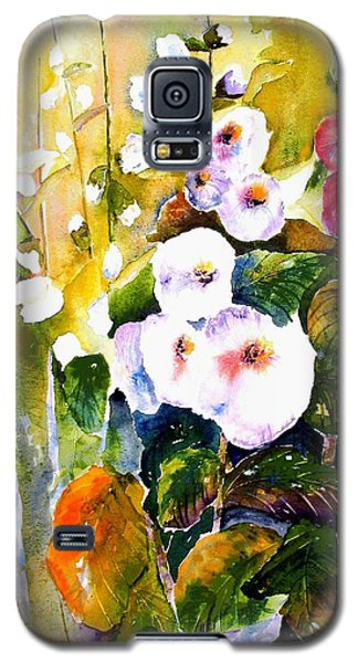 Galaxy S5 Case featuring the painting Hollyhock Garden 1 by Marti Green